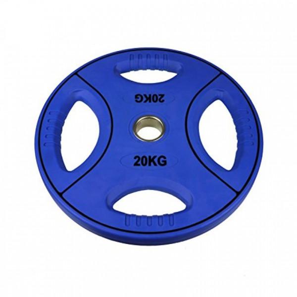 POWER-EXTREME Hantelscheibe mit 4 Grifflöchern - Polyurethan - 50mm - 20 KG - blau