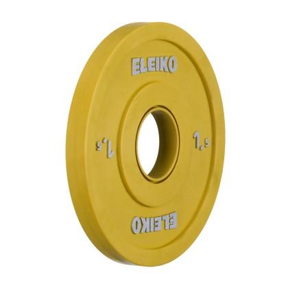 Eleiko - Gewichtheben - Wettkampf - Hantelscheibe - 1,5 kg - gelb - Friction-Grip