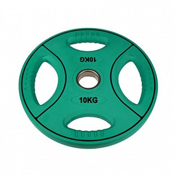 POWER-EXTREME Hantelscheibe mit 4 Grifflöchern - Polyurethan - 50mm - 10 KG - grün